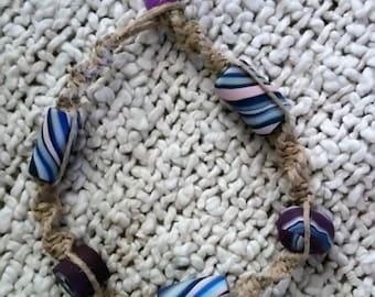 Hemp Bracelet, natural hemp and handmade clay beads in purple, pink and blue, hippie bracelet