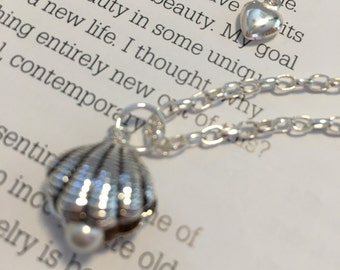 Sterling Silver Shell and Pearl Pendant with Sterling Silver Chain and Heart
