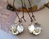 Estate Styled Crystal Octagons Jewels Suspend from Antiqued Kidney wires