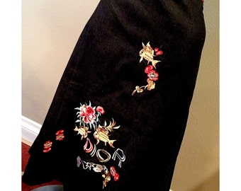 Vintage Christian Dior Denim and Embroidery Skirt 1980s