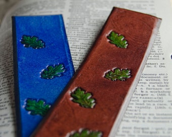 Leather bookmark with leaf design