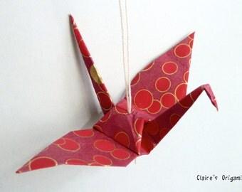 Red, burgundy and golden Wild Crane Origami pendant