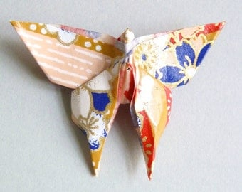 Darkblue, red and gold Butterfly Origami brooch