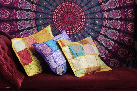 YELLOW SCATTER CUSHION- Indian Cushion- Sari Fabric- Vintage Pillow- Ethnic cushion- Bohemian Decor- Homeware- Bedding- Hippie Accessories