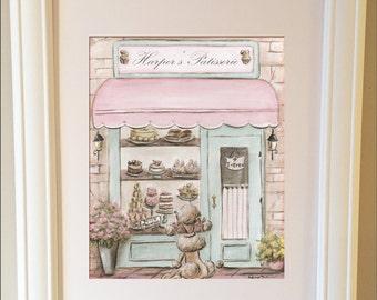 Paris Decor, Vintage Paris France Wall Art, Patisserie With Girl's Name, Baby Shower Gift, Paris Personalized,  Shabby Chic Paris Art Print