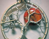 Sea Sediment Jasper Full Moon Tree of Life with Peridot Roots and Dragonfly in the Branches, Wearable Art