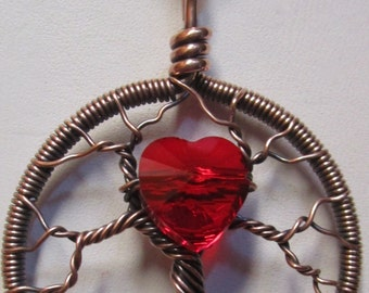 Wire Wrapped Tree of Life, Red Heart Antique Copper Tree of Life,  Swarovski Crystal Tree, Valentine Tree of Life