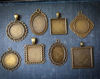 8 Pendant blank Sampler 8 Blank pendants for necklaces or wedding bouquets great party favor, moms group craft or fundraiser