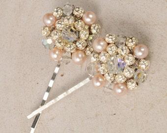 Art Deco Hair Pins, Blush Pink Bobby Pins, Wedding Hair Accessories, Pearl and Crystal Hair Pieces, Vintage Bridal 1950's Pins, Hair Jewelry