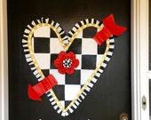 Valentines Door Hanger, Mackenzie Childs Inspired LargeBlack and White Checkered Heart with Red Arrow Door Hanger