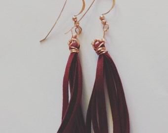 Wine colored tassel earrings; fringe earrings; earrings; dangle earrings