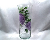 Hand painted lilacs on glass vase