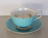 Vintage Ansley Turquoise Blue Butterfly Tea Cup and Saucer Set