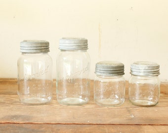 Vintage Canadian Canning Jars Set of 4 Kitchen Canisters Pantry Rustic Decor