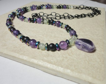 amethyst necklace prehnite necklace hematite necklace purple necklace green necklace black necklace over the head necklace long necklace
