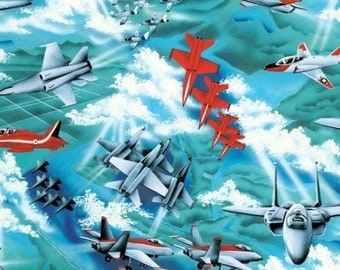 Air Show, Airplanes,  Fighter Plane, Military Fabric, Airplane Fabric, 01005A