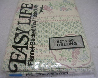 """Vintage Floral Easy Life Flannel Backed Vinyl Tablecloth by Excell Oblong 52"""" by 90"""""""