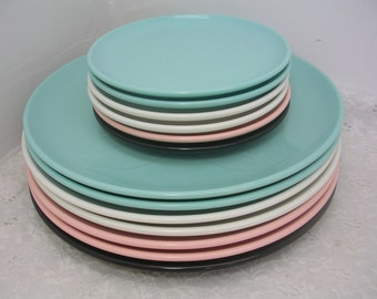 Vintage Desert Flower Melmac Melamine Plates by International Pink Blue White Black