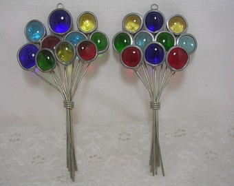 Vintage Stained Glass Multi-Colored Balloon Bouquet Sun Catcher (2)