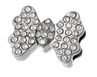 Rhinestone Bow Tie Magnetic Clasp, Glue on Clasp, Silver Clasp, Kumihimo Clasp, Darling clasp / WCB54843