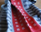 Tea Towel Handwoven Squares & Stripes Cotton/Linen Stone/Charcoal/Red