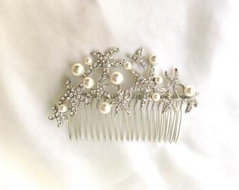 Bridal starfish hair comb