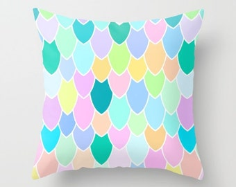 Mermaid Scales Rainbow Cushion Cover in Linen, Boho Nursery | Made to Order | Ships in 4-6 weeks