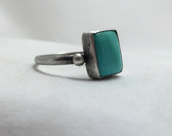 Modern Turquoise Sterling Silver Dot Ring