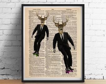 DEER Skateboarding Dictionary Art Print Poster Boys Teens Wall Decor Skateboard Gifts Animal Print, Antique Book Page