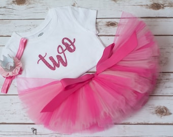 Second birthday outfit  'Anita' pink two outfit birthday girl toddler birthday second birthday shirt crown headband 2nd birthday outfit girl