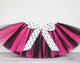 Hot Pink and Black 'Alexis' Tutu, kids tutu, size 2, 3, 4, photo prop, birthday tutu, 2T 3T 4T, toddler tutu, dress up skirt, rockstar tutu