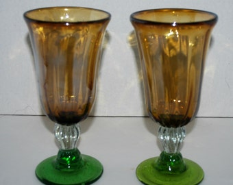 Vintage amber and green glass water goblets, iced tea glasses  stemware