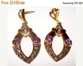 Genuine Amethyst Earrings Marcasite Stones Dangle Style Pierced Ears Gold Vermeil 1 3/4 in Vintage