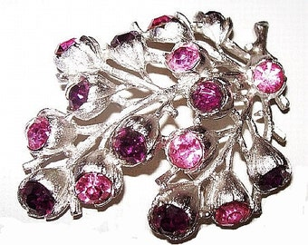 """Sarah Cov Rhinestone Brooch Pink Purple Stones Flower Design Silver Metal 2.5"""" Vintage"""