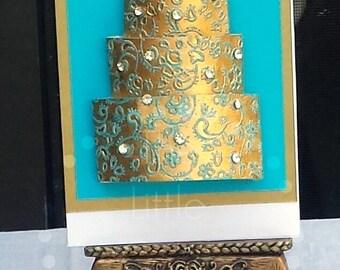 Golden Swirl Cake Card