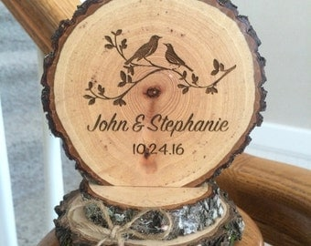 Rustic Woodland Wedding Cake Topper Personalized Country