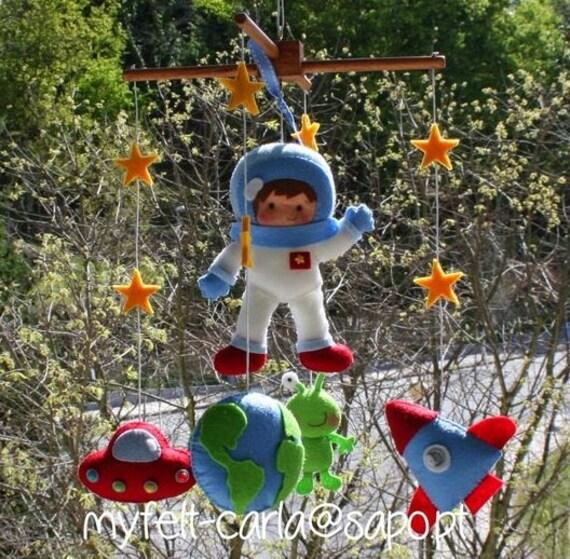 Baby Mobile Nursery Mobile Felt Crib Mobile Astronaut