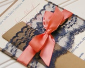 Navy and Coral Wedding Invitations. Lace Invitation. Rustic Wedding. Shabby Chic Wedding. Vintage Wedding.