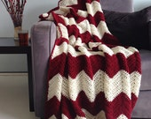 Christmas blanket - crochet chevron afghan Burgundy red and cream -> made to order
