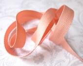 3/8in Peach Herringbone -- 3 yards -- Twill Tape -- Coral -- 9.5mm