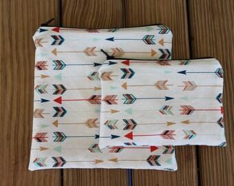 Reusable Sandwich Bag Combo, Arrows - Zipper Sandwich Bag and Zipper Snack Bag