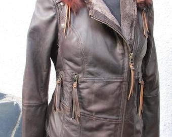 ON SALE!! Leather steampunk jacket dark brown leather biker style jacket leather burning man jacket SELKINI