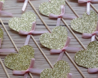 12 Cupcake Picks - Gold Glitter Hearts with Pink Bows