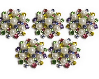 Metal Rhinestone Buttons - Pearl Sunburst Button - 30mm SET OF FIVE - rainbow