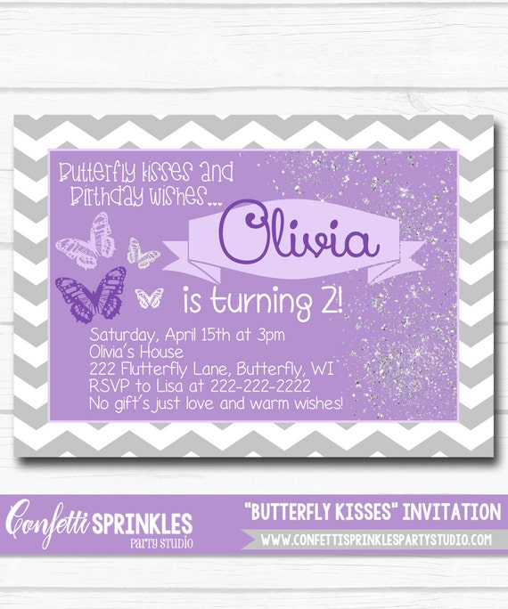 Diy Personalized Purple Butterfly Kisses Birthday Party Digital