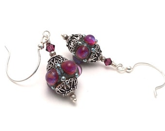 Purple Crown Jewels Lampwork Glass Earrings - Bumpy Lampwork Earrings - Elegant Victorian Earrings - Sterling Silver Earrings - SRAJD 3955