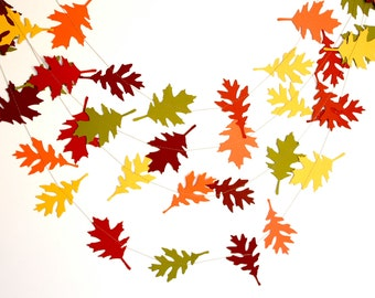 Woodland fall leaves garland, Woodland nursery decor, Woodland birthday party decor, fall colors autumn garland