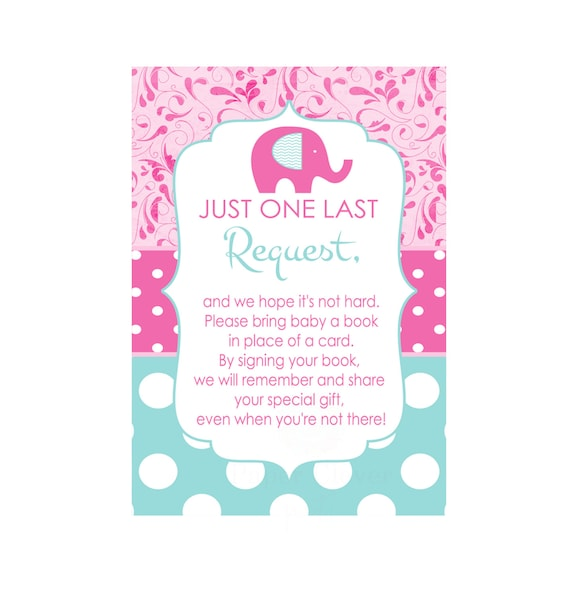 Pink Elephant Bring A Book Shower Insert Card Baby Girls Printable or Printed Paper Coordinates Cute Damask and Polka Dot Sprinkle (PEBS12)