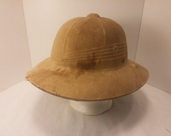 Vintage Pith Helmet - beaten, dirty, worn, ex-military, cosplay, Steampunk