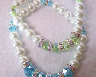 Bracelet/Pearl crystal stretch bracelet/light green/light blue/crystal rondelle spacers/8 inch unstretched/Free USA shipping only